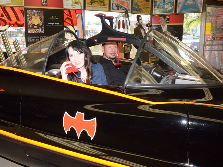Biddy Schippers and Denny Randell in the Batmobile