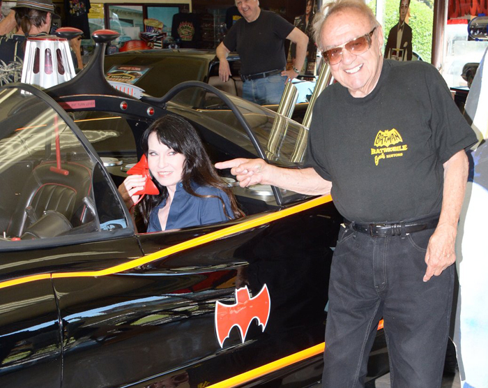 Biddy Schippers in the Batmobile with George Barris